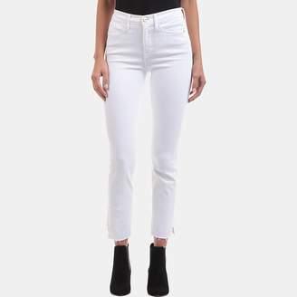 Frame Le High Side Step Raw Edge Jean in Blanc