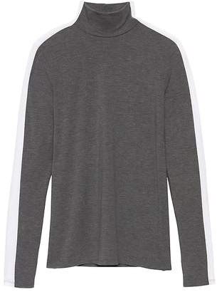 Banana Republic Threadsoft Color-Blocked Turtleneck T-Shirt