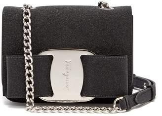 Salvatore Ferragamo Vara glitter-covered leather cross-body bag