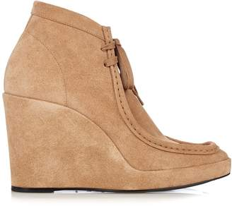 Balenciaga Lace-up suede wedge ankle boots