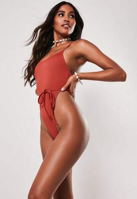 Missguided Rust Tie Waist High Leg Thong Swimsuit
