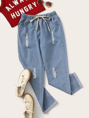 Shein Plus Ripped Drawstring Waist Jeans