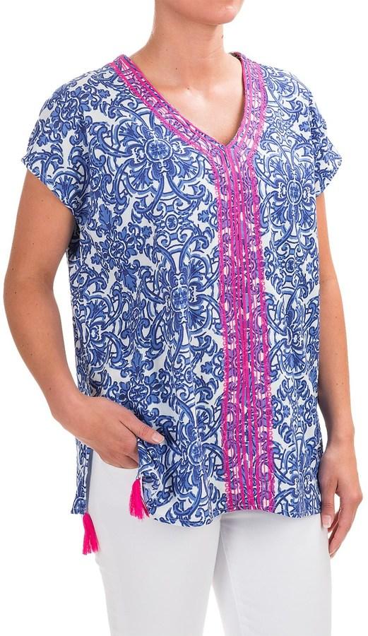 Caribbean Joe Embroidered-Trim Poncho Shirt - Sleeveless (For Women)