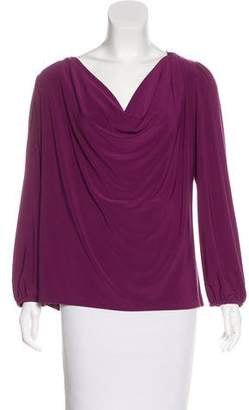 Halston Draped Long Sleeve Top
