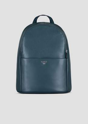 Emporio Armani Backpack In Printed Boarded Leather With Logoed Shoulder Straps