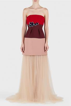 DELPOZO Crepe and Tulle Nude Long Gown