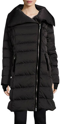 Vera Wang Asymmetrical Zip Puffer Down Coat $398 thestylecure.com