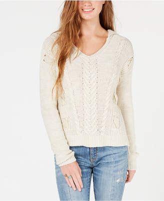 American Rag Juniors' Mixed-Stitch Knit Hoodie Sweater, Created for Macy's