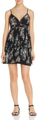 Karina Grimaldi Grace Pleated Floral-Print Mini Dress