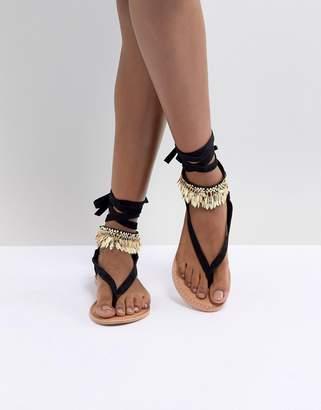 Asos DESIGN Fastrack Tie Leg Sandals