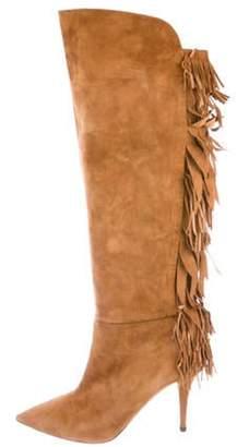 Aquazzura Fringe-Accented Suede Knee-High Boots Tan Fringe-Accented Suede Knee-High Boots