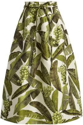 Oscar de la Renta Leaf-jacquard midi skirt