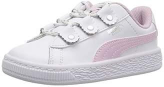 Puma Unisex Basket Loops Kids Sneaker Black White-Rose Gold