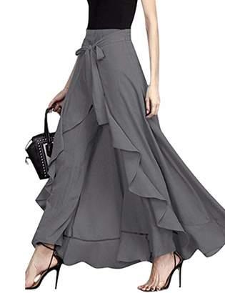 MuCoo Women's Casual Chiffon Tie-Waist High Slit Ruffle Palazzon Pant Overlay Maxi Skirt M