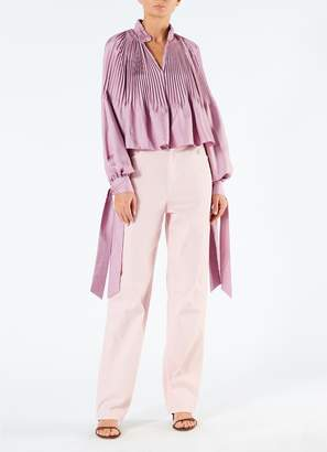 Tibi Mendini Twill Cropped Edwardian Top