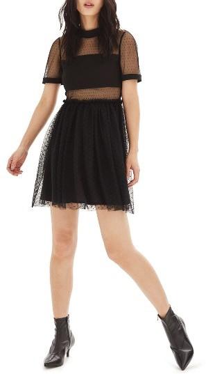 TopshopWomen's Topshop Dot Tulle Skater Dress