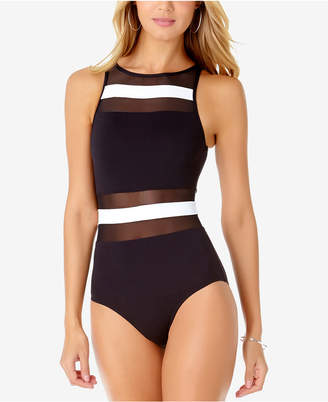 Anne Cole Colorblocked Sheer-Inset One-Piece Swimsuit Women's Swimsuit