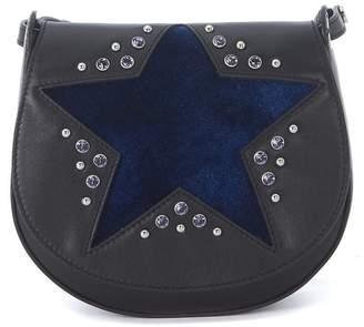 Orciani Black Tumbled Leather Shoulder Bag With Blue Velvet Star