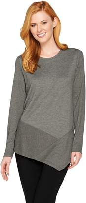 Logo By Lori Goldstein LOGO Lounge by Lori Goldstein French Terry Knit Top with Rib Detail