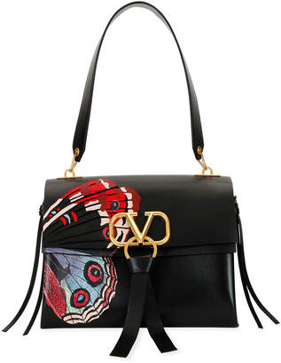 Valentino Garavani VRING U Butterfly Leather Shoulder Bag