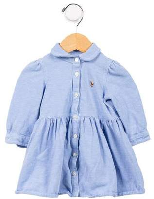 Ralph Lauren Girls' Woven Button-Up Dress