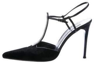 Diego Dolcini Velvet T-Strap Sandals