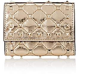Valentino Women's Rockstud Spike Leather Folding Card Case - Gold