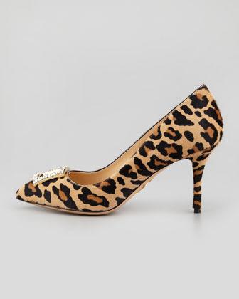 Charlotte Olympia Eleanor Crystal-Buckle Calf Hair Pump, Leopard