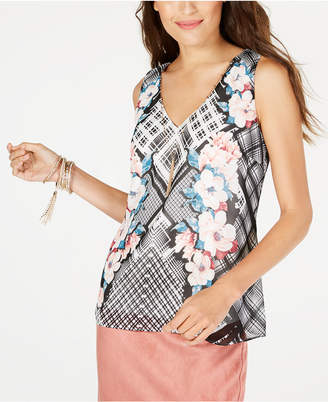 Thalia Sodi Cutout Flounce-Hem Necklace Top