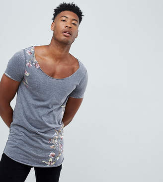 Asos Design DESIGN Tall super longline t-shirt with scoop neck in burnout with floral print