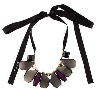 Marni Horn, Resin & Crystal Collar Necklace