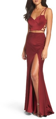 Women's La Femme Cutout Two-Piece Gown $328 thestylecure.com