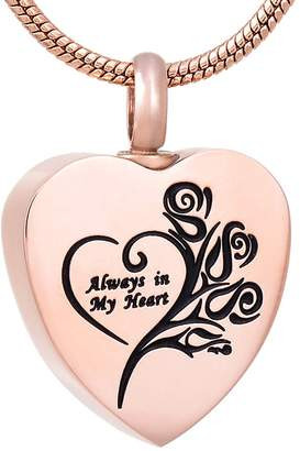 """Keepsake DIYjewelry Inc """"Always in My Heart""""Cremation Ashes Necklace Urn Pendnat Memorial Jewelry"""