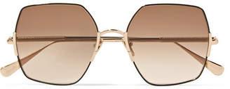 Sunday Somewhere - Eden Oversized Square-frame Gold-tone Sunglasses - Brown