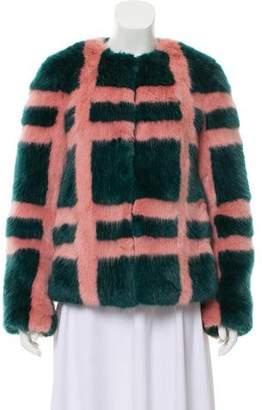 Shrimps Patterned Faux Fur Coat