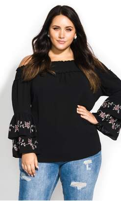 City Chic Citychic Off Shoulder Embroidery Top - black