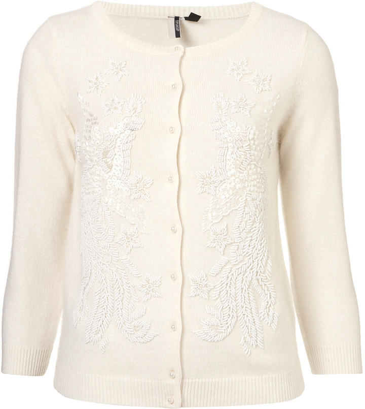 Topshop Knitted Bead Front Cardi