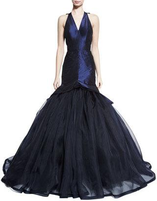Zac Posen Sleeveless V-Neck Mermaid Gown, Navy $6,990 thestylecure.com