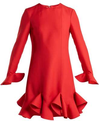 Valentino - Flounced Hem Silk Crepe Dress - Womens - Red