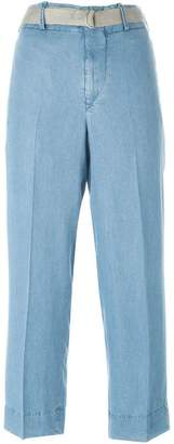 Incotex belted chambray trousers