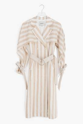 Genuine People Lightweight Striped Linen Trench Coat