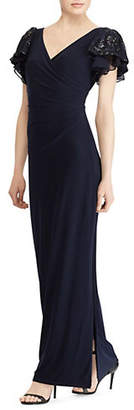 Lauren Ralph Lauren Flutter-Sleeve Jersey Evening Gown