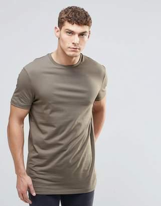 Asos DESIGN longline t-shirt with crew neck in khaki