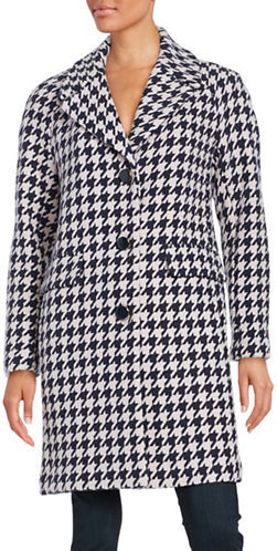 Kate Spade Kate Spade New York Houndstooth Notch Collar Coat