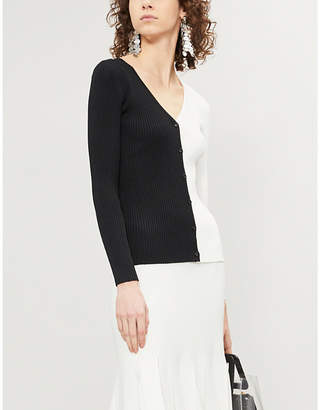 STAUD Cargo two-tone ribbed-knit top