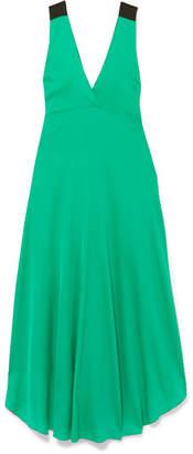 By Malene Birger Taalia Embellished Stretch-silk Satin Maxi Dress - Green