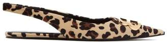 Balenciaga Leopard Print Velvet Slingback Flats - Womens - Leopard