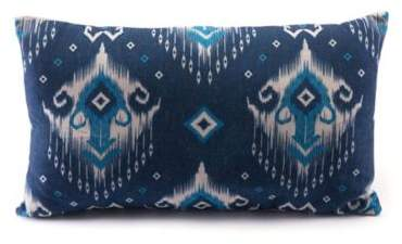 Modern Ikat Oblong Throw Pillow in Blue/Natural
