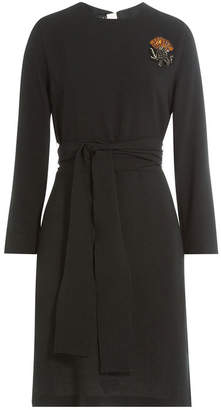 Rochas Belted Dress with Embellished Brooch