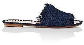 Barneys New York Women's Fringed Raffia Slide Sandals-Navy